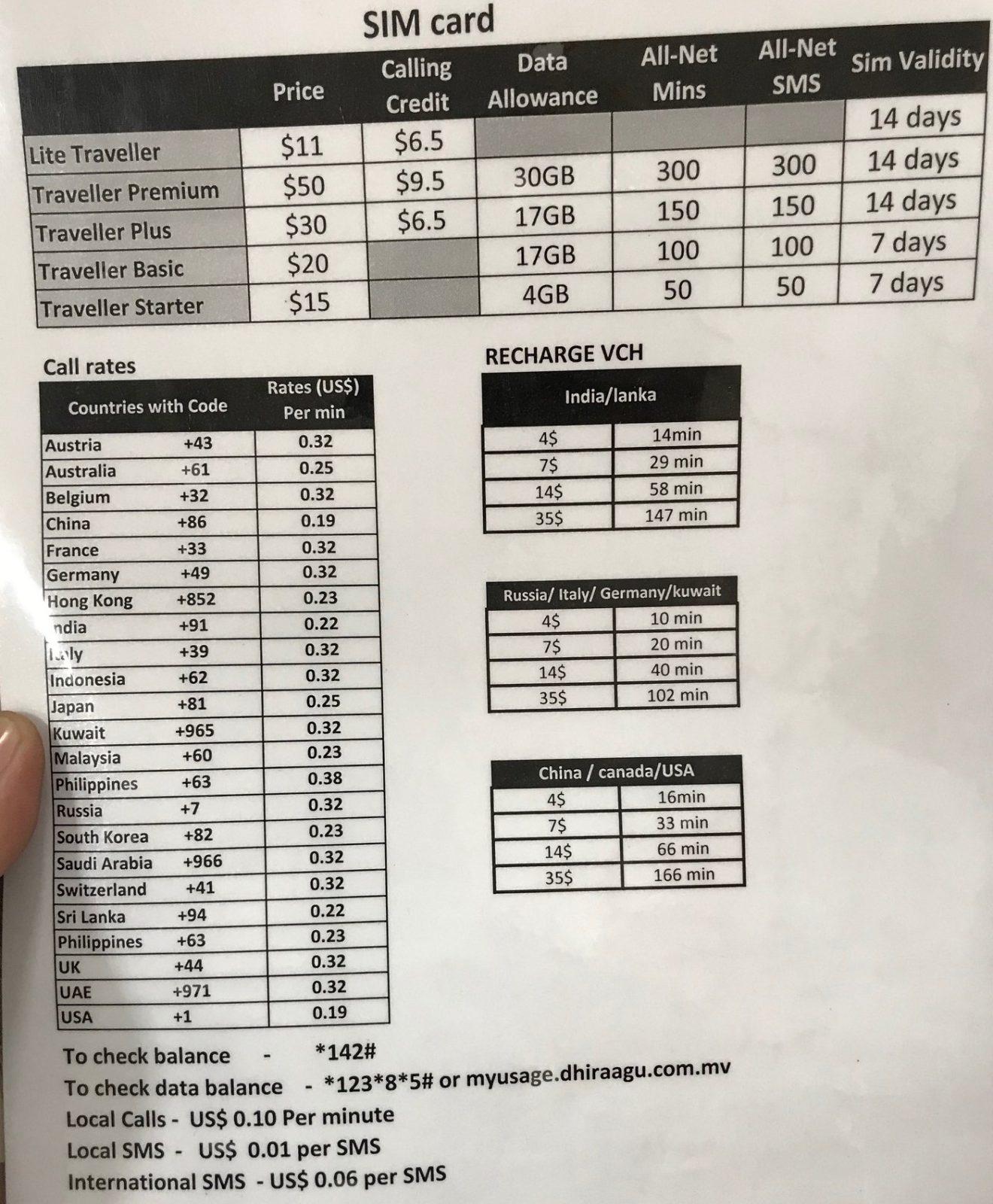 стоимость сотовой связи на мальдивах
