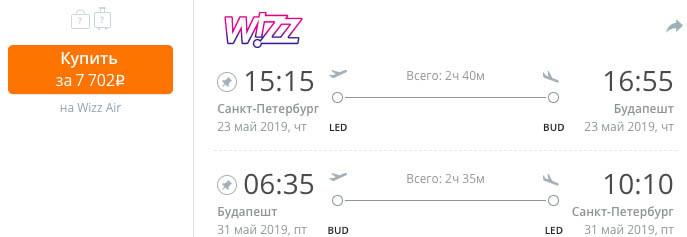 купить дешевый авиабилет из СПб в Венгрию