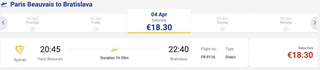 купить авиабилет из Парижа в Братиславу