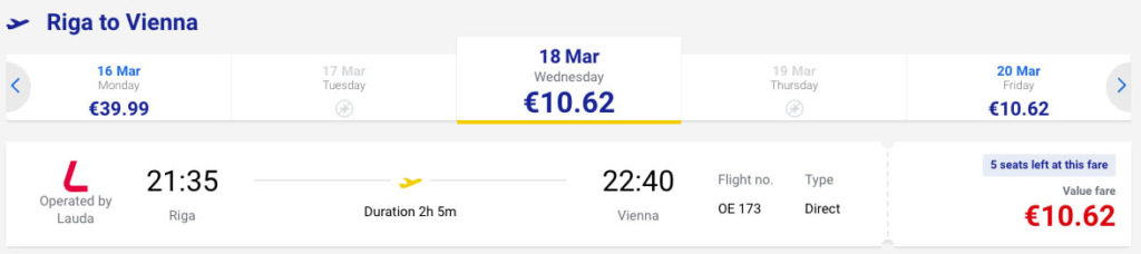 купить дешевый авиабилет из Риги в Вену