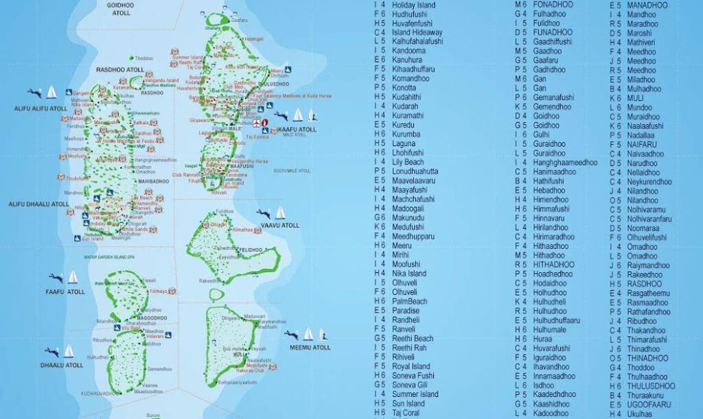 карта островов Мальдив