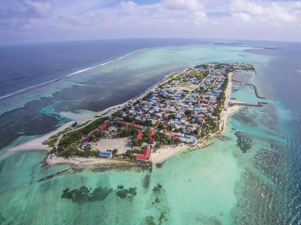 остров Маафуши с высоты птичьего полета