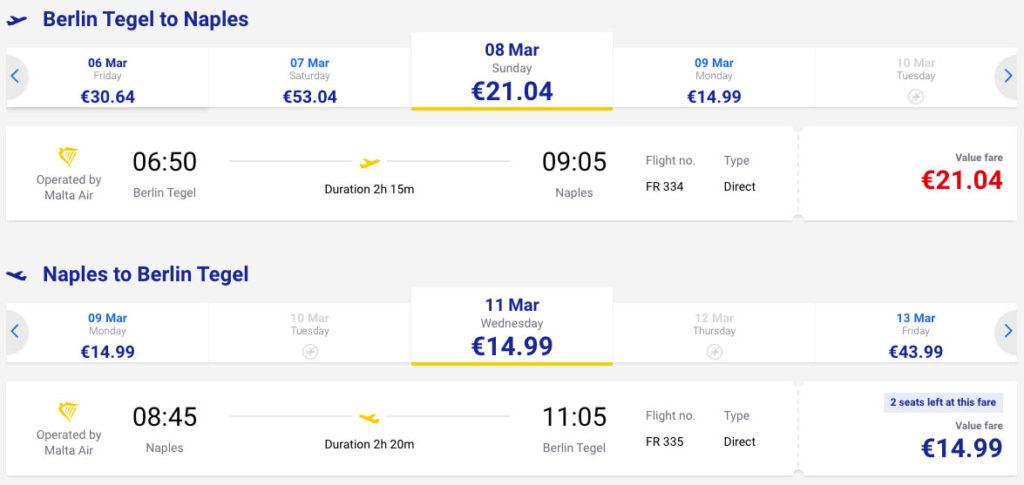 купить дешевый авиабилет из Берлина в Неаполь