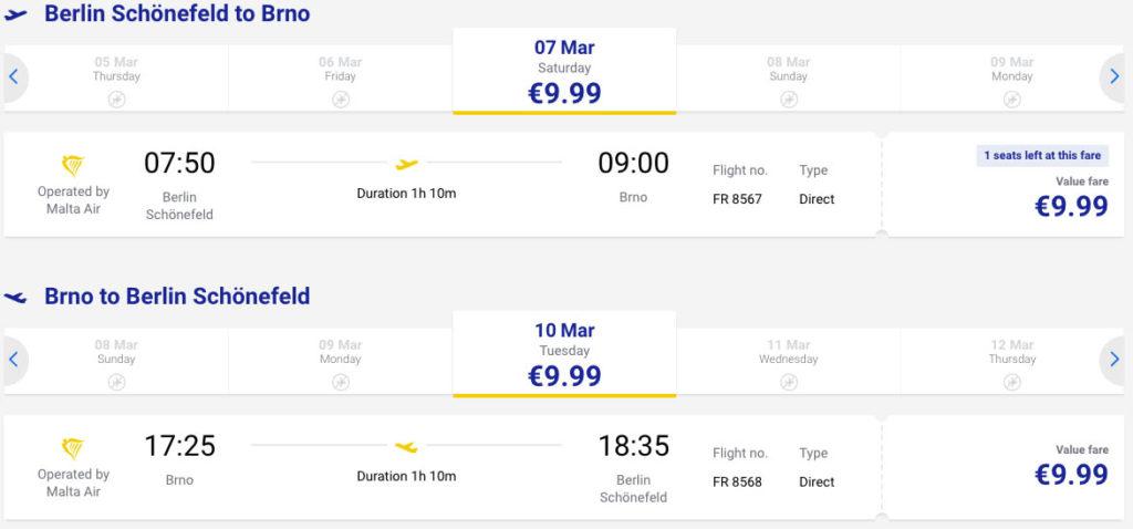 купить авиабилет из Берлина в Брно