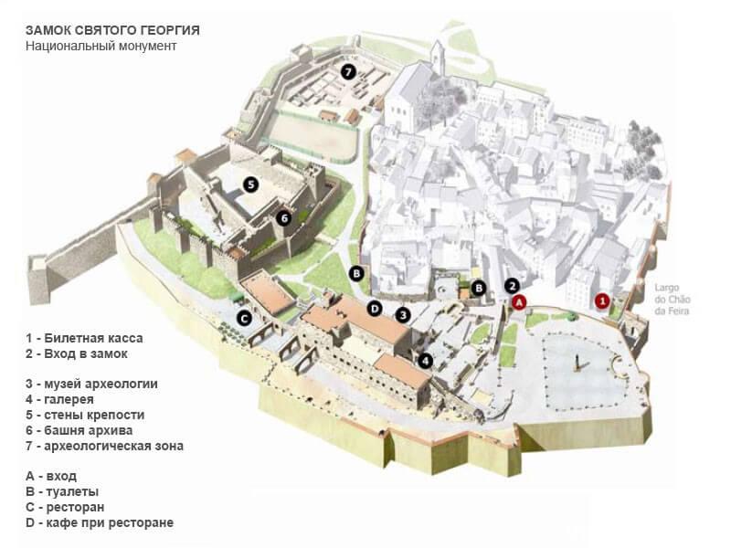 карта-план на русском замка святого Георгия в Лиссабоне