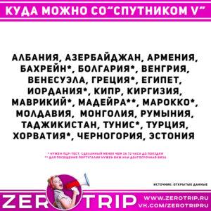 Куда можно из России со Спутником V?